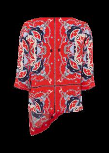 Bedruckte Shirtbluse mit asymmetrischem Saum