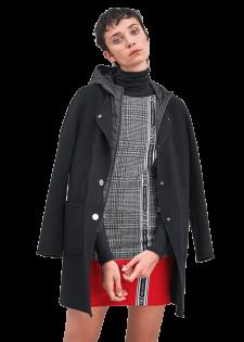 Eleganter Wollmantel mit abnehmbarer Kapuze