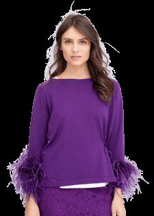 Pullover mit Federn an den Ärmeln