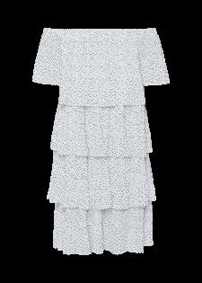 Off-Shoulder Volantkleid mit Dots