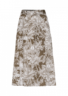 Pleated skirt with a tropical print