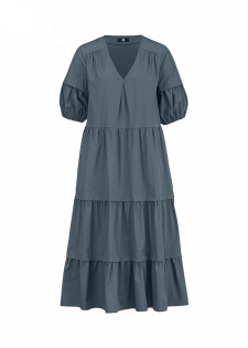 TIERED DRESS WITH BALLOON SLEEVES