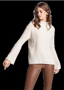 Ripp-Pullover aus Merino-Mix