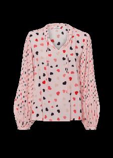Bedruckte Bluse mit Plisseeärmeln