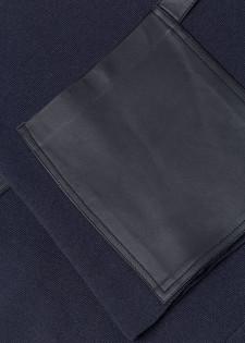 Strickpullover mit Leder-Details
