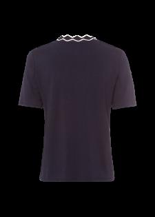 T-Shirt mit Rippstrickkragen