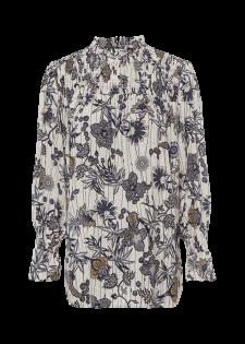 Blumenprint-Bluse mit Smok-Details