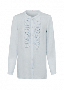 Long-sleeved blouse with a ruffled trim
