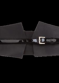 Breiter Ledergürtel mit Stretcheinsatz