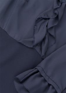 Rüschenkleid im Materialmix-Design