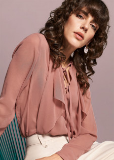 CHIFFON BLOUSE WITH FLOUNCE AT FRONT