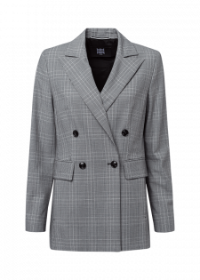 Long blazer with a glen check pattern
