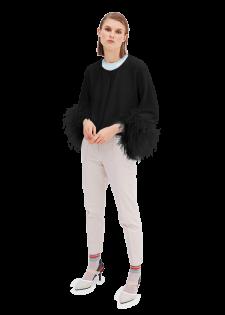Femininer Cardigan mit echten Straußenfedern