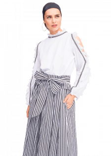 Cold-Shoulder-Shirt mit Fransen